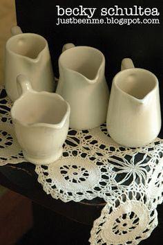 ironstone cream pitchers: Becky Schultea's cottage