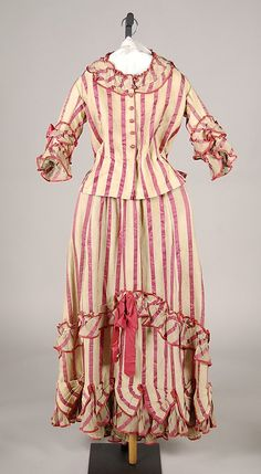 Afternoon dress, silk and cotton, 1868-72, American.
