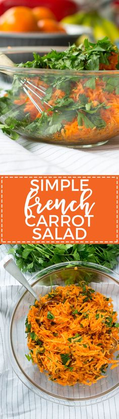 Add this simple, refreshing, and healthy carrot salad to your table to channel the best parts of the French family dinner! Healthy Side Dishes, Side Dishes Easy, Vegetable Side Dishes, Side Dish Recipes, Vegetable Salad, Carrot Salad Recipes, Healthy Vegetable Recipes, Healthy Food, Healthy Eating