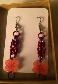 Red and Purple Byzantine Flower Earrings Style by inthespicerack