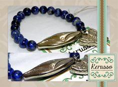 Pulsera con piedras semipreciosas azules, dije plateado y mariposa.  #KerussoBisuteria #Design #Jewelry #HandMade #CostaRica