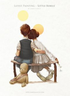 James Hance called Little Rebels. It's a Star Wars inspired piece done in the style of legendary artist Norman Rockwell, and it features Han and Leia watching the suns set.