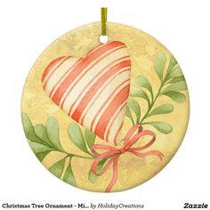 Christmas Tree Ornament - Mistletoe & Heart  #christmas #holidays #ornaments  #home #shopping #style #christmastree #homedecor #gifts #countrydesign