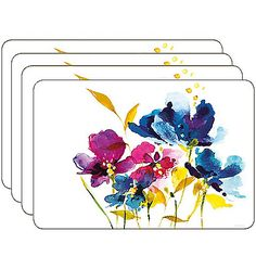 The Art House Florals Collection features a saturated watercolor design laced with trendy and beautiful blossoms. The style and beauty of this set of 4 placemats is timeless, with a soft cork backing for stability.