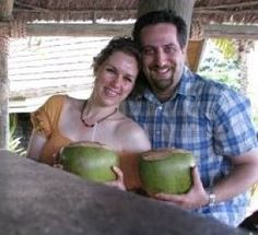 Galia and David Myron with coconut drinks. Galia will tell you about your generation and all the others. http://perfectformuladiet.com/plant-based-nutrition/why-now-is-a-great-time-to-be-vegan/