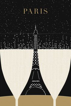 Illustration Paris Print Eiffel Tower by TheParisPrintShop