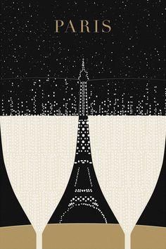 Illustration Paris Print Eiffel Tower by TheParisPrintShop