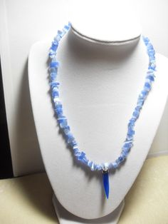 Vintage Blue Cat's Eye 19 necklace Blue by GingersLittleGems