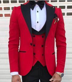 Red With Black Lapel Suits For Men Custom Made Terno Slim Groom Custom 3 Piece Wedding Mens Suit Masculino Jacket+Pant+Vest+Bow Mens Suit Vest, Mens Suits, Suit Jacket, Suit Pants, Groom Tuxedo, Tuxedo For Men, Groom Suits, Groom Attire, Black Tuxedo Wedding
