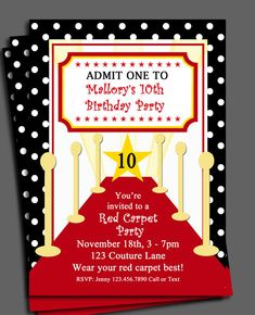 Red Carpet Party Invitation Printable  by ThatPartyChick on Etsy, $15.00