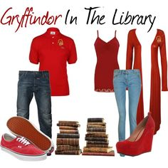 Gryffindor In The Library, created by nearlysamantha on Polyvore