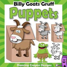 The Three Billy Goats Gruff characters - printable paper bag puppet templates. Fun craft project for kids. Make your own puppets and put on a puppet show or play.