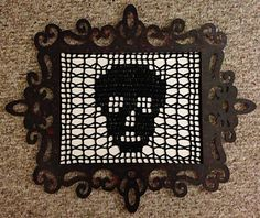 Ravelry Free Download: Crochet Filet Skull Doily with Brain Slice Edging by Maria Merlino