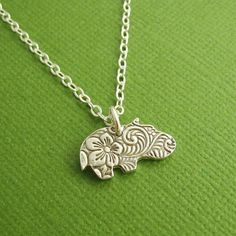 Tiny Hippo Necklace, Flowered Baby Hippo, Fine Silver, Sterling Silver Chain, Made To Order Cute Hippo, Baby Hippo, Hippo Costume, Hippo Tattoo, Hippo Crafts, Hippopotamus For Christmas, Jewelry Making, Craft Jewelry, Jewelry Box