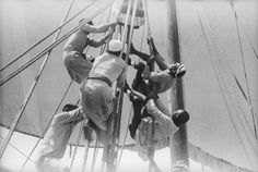 Sailors climbing up to the halyard blocks by National Maritime Museum, via Flickr
