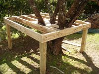 block the joists in the tree house floor