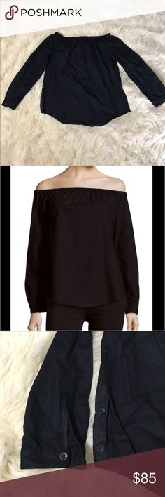 "Rag & bone cotton off shoulder top NWT! Black rag & bone off shoulder top.              •Comfortable solid top crafted from pure cotton •Off-the-shoulder neckline •Long sleeves with button cuffs •Curved hem •Pullover style •About 22"" long rag & bone Tops Blouses"