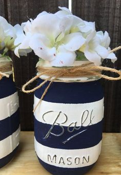 Nautical Mason Jars Distressed Mason Jars-Nautical Baby