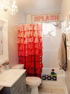 cute, whimsical home on street design school. i like the word splash in the bathroom! check out the other rooms too! Love love love the ombre shower curtain! Ombre Shower Curtain, Cute Shower Curtains, Easy Curtains, Ombre Curtains, Girl Bathroom Decor, Bathroom Interior, Kitchen Interior, Small Bathroom, Bathroom Ideas
