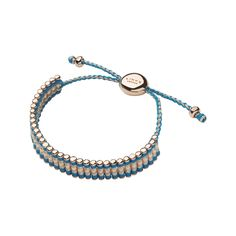 Links of London Bubble Turquoise and Silver 18ct Rose Gold Friendship Bracelet