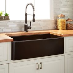 "30"" Reinhard Fireclay Farmhouse Sink - Black"