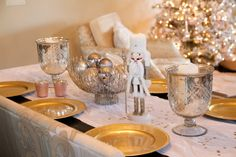 Christmas silver, gold and pink Nutcracker tablescape