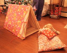 """cute DIY sleeping bag and tent for 18"""" dolls"""