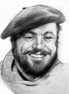 Luciano Pavarotti by Cipta Stevano Gunawan {from Indonesia} Cool Pencil Drawings, 3d Drawings, Amazing Drawings, Pencil Art, Portrait Au Crayon, Pencil Portrait, Portrait Art, Old Man Pictures, Art Pictures