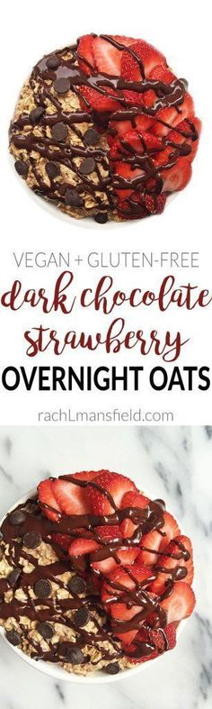 Dark Chocolate Strawberry Overnight Oats for a quick, easy and delicious breakfast. They are plant-based and gluten free-friendly. Super healthy oatmeal breakfast you will love!