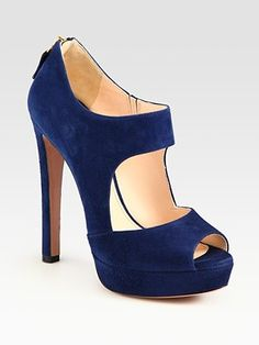 Perfect shoe for color blocking!  Prada Suede Double Strap Platform Booties