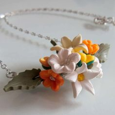 Tropical Blossom Flower Necklace  Polymer Clay by beadscraftz, $36.00