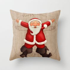 Vitruvian Santa Claus Throw Pillow by Jordygraph - $20.00