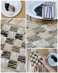 Use simple designs and rubber bands to make these graphic rubber band prints. This printmaking lesson is fun for any level! - Rubber Band Prints- Printmaking with Office Supplies - The Kitchen Table Classroom Diy And Crafts, Crafts For Kids, Arts And Crafts, Paper Crafts, Diy With Kids, Fabric Stamping, Handmade Stamps, Rubber Bands, Rubber Band Crafts