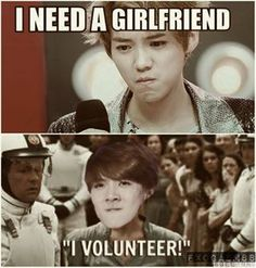 HAHAHA..sehun's face is epic!my HunHan feelss..Sehun's volunteering~..AND btw,luhan its impossible for you to have that problem&...