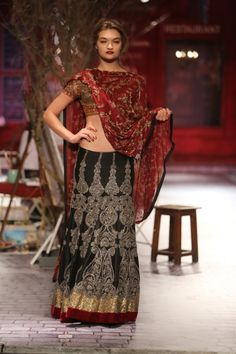 dark red and gold vintage style sari | Monisha Jaising for India Couture Fashion Week 2014