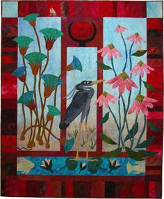 This would make a gorgeous card with stamped or paper pieced panels --- Ann Fahl's Color and Quilts: The Cat Hair Returns