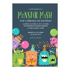 #MONSTER MASH KIDS BIRTHDAY PARTY INVITATION invite - #Halloween happy halloween #festival #party #holiday