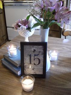 books and literature wedding decor - table numbers