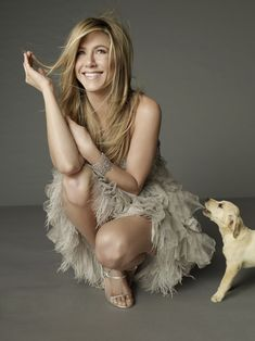 Jennifer Aniston and a puppy