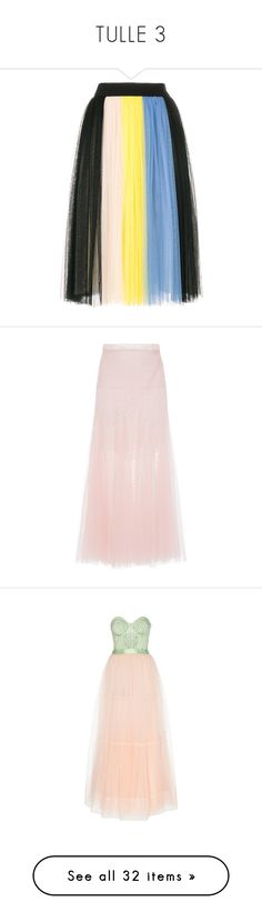"""TULLE 3"" by jckyleeah ❤ liked on Polyvore featuring tulle, jckyleeah, skirts, multicolour, fausto puglisi, colorful skirts, multi colored skirt, knee length pleated skirt, pleated skirt and pink"