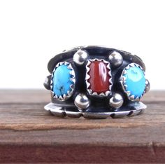Sterling Silver Turquoise & Red Coral  Signed Native American Ring by MaejeanVINTAGE, $30.00    #turquoise #coral #ring #vintage #silver
