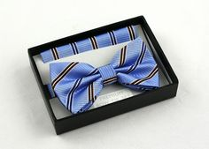 New Blue Black Striped Mens Bow Tie Hanky Tuxedo Wedding Prom Fashion Bowtie Set #VenettoCollection #BowTie