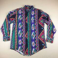 Vintage Plainsman Western Aztec Tribal Shirt Mandarin Collar Size L 16-16 1/2 | Clothing, Shoes & Accessories, Men's Clothing, Casual Shirts | eBay!