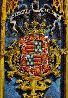 Coat of Arms of the Pimentel Family, most likely don Juan Alonso Pimentel Herrera y Enríquez de Velasco V Duke of Benavente.
