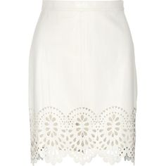 Lover Catherine laser-cut leather skirt ($595) ❤ liked on Polyvore