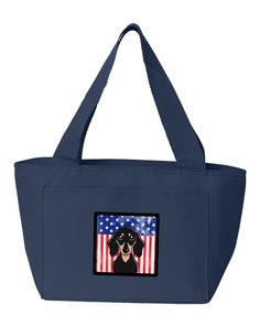 American Flag and Smooth Black and Tan Dachshund Lunch Bag BB2145NA-8808