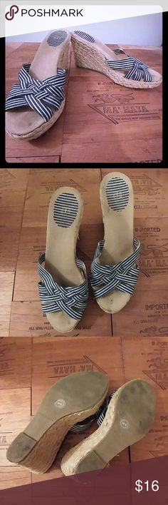 Gap striped wedge espadrille sandals sz 9 Super cute and comfy, barely worn. Minor wear in espadrille, see photo 4 GAP Shoes Espadrilles