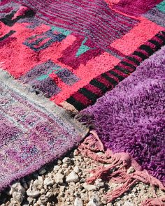 Purple Berber rugs in the desert of Agafay #Rugs #BerberRugs #Desert #Tribal #decor #BerberDesign #rugstyle #rugdesign