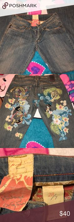 Low rise flare jeans Size 28 Japanese inspired embroidered jeans with a flare bottom Marlow Jeans Flare & Wide Leg