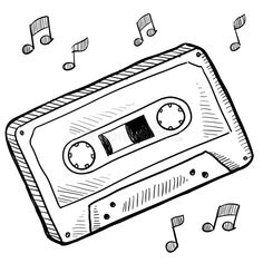 Illustration about Doodle style cassette tape vector illustration. Illustration of record, illustration, audio - 22369240 Mini Drawings, Cool Art Drawings, Pencil Art Drawings, Art Drawings Sketches, Doodle Drawings, Easy Drawings, Doodle Art, Graffiti Designs, Bullet Journal Art